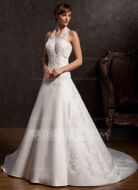 A Line/Princess Halter Chapel Train Satin Wedding Dress