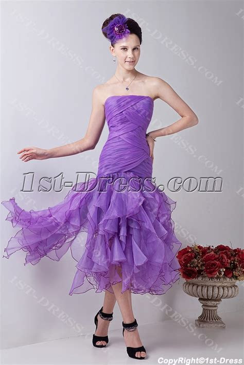 Lilac Ruffle Tea Length Short Quinceanera Dresses:1st