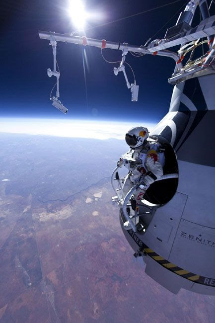 Austrian BASE jumper Felix Baumgartner is about to skydive from an altitude of 71,581 feet on March 15, 2012.
