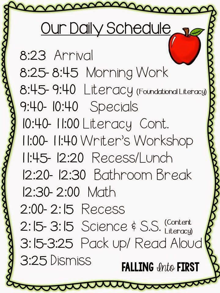 Grade 4 Daily Schedule | Daily Planner