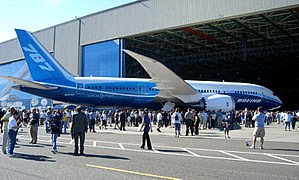 Boeing 787 Dreamliner at roll-out ceremony