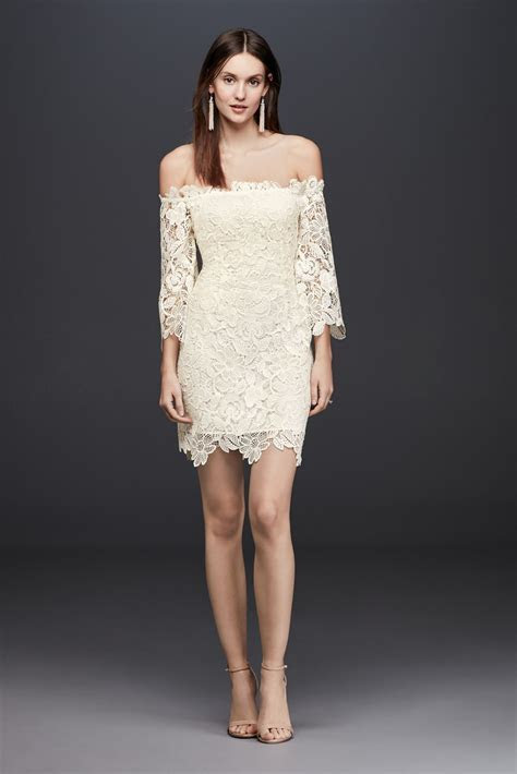 Off The Shoulder Short Lace Dress with 3/4 Sleeves David's