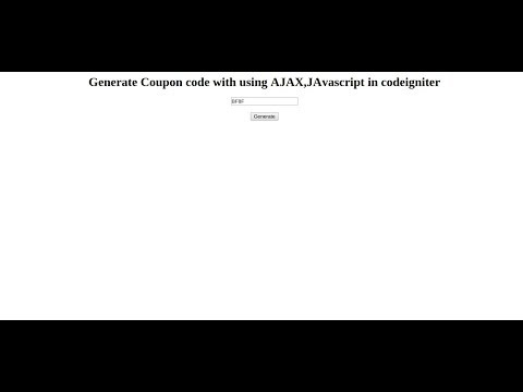 Generate coupon code and call ajax in codeigniter