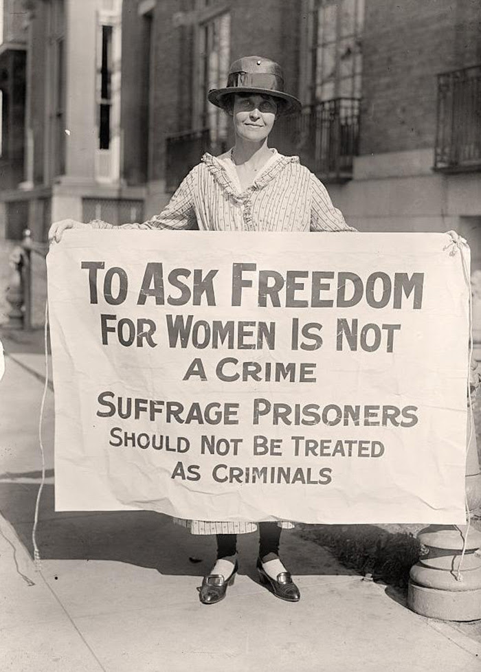 Mary Winsor Holding Suffrage Prisoners Banner In Washington D.C. (1917)