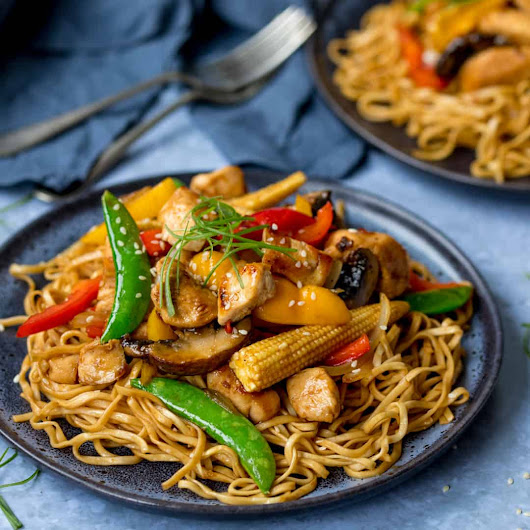Honey and Soy Chicken Stir Fry with Spicy Asian Noodles - Nicky's Kitchen Sanctuary