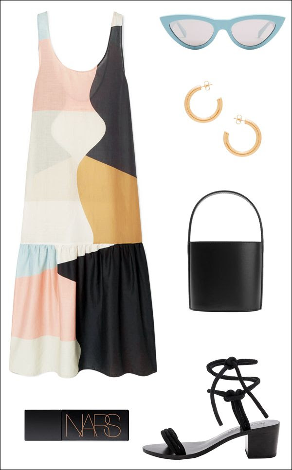 How To Wear Statement Summer Dress Color Block Dress Celine Cat Eye Blue Sunglasses Stand Bucket Bag Hoop Earrings Nars Bronzer Lace Up Sandals Outfit Idea Le Fashion Blog
