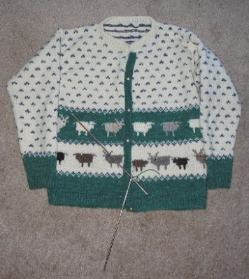 Rare Breed Sweater, progress halted for running out of green yarn.