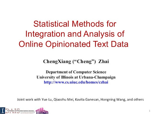 Statistical Methods for  Integration and Analysis of  Online Opiniona…