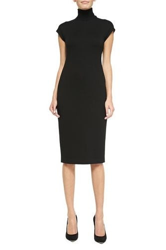 Theory Nemor Cap Sleeve Turtleneck Dress