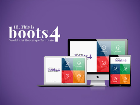 Boots4 First-ever Free Bootstrap 4 Template in the World