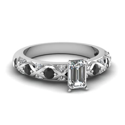 Round Cut Diamond Cross Band Side Stone Engagement Ring