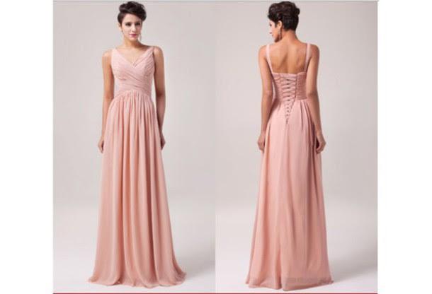Blush Bridesmaid Dress V Neck Bridesmaid Dresses Long Bridesmaid
