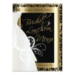 Beautiful Bridal Menu in Gold & Black Damask 5.5x7.5 Paper Invitation Card