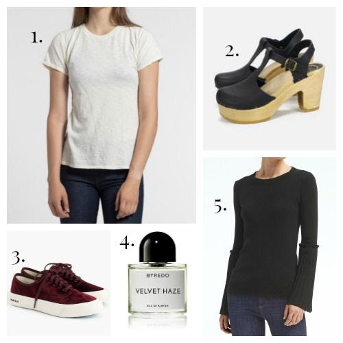 Industry Standard Tee Shirt - No. 6 Clogs - SeeVees for J.Crew Sneakers - Byredo Fragrance - Banana Republic Sweater