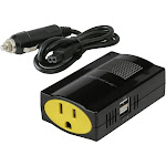 Scosche 150W Portable Power Inverter with Dual USB ports Black