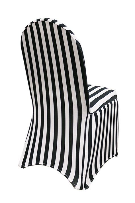 Spandex Chair Covers Black and White Striped   Spandex