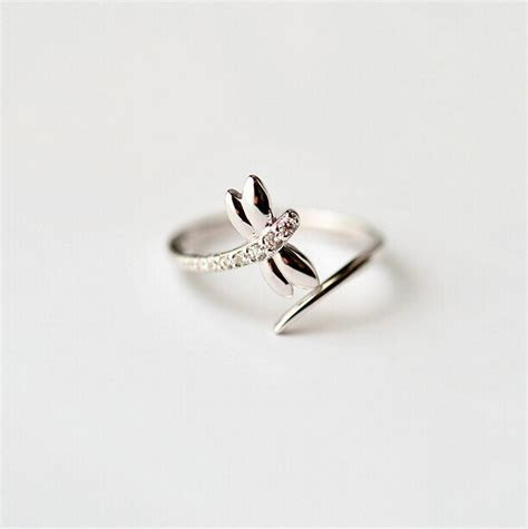 Simple Dragonfly Engagement Rings For Women S925 Sterling
