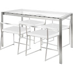Fuji Contemporary Dining Set in Stainless Steel and White by Lumisource