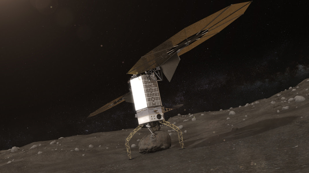 Artists concept of NASA's Asteroid Redirect Robotic (ARM) Mission capturing an asteroid boulder before redirecting it to a astronaut-accessible orbit around Earth's moon.