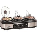Bella - 3 x 1.5-Quart Triple Slow Cooker - Stainless Steel/Black