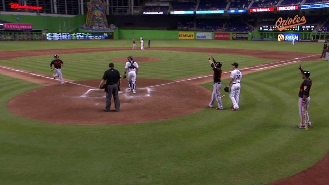 Orioles le propinan a Marlins su 8va derrota en fila
