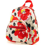 "Zodaca 11.5"" Stylish Red Poppy Print Small Kids Children Outdoor Backpack Schoolbag School Bag for Kids Girls Boys (Size: 9.25"" L x 3.5"" W x 11.5"" H)"