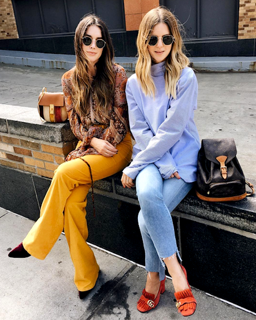 Le Fashion Blog 2 Chic Seventies Outfits To Try Now Paisley Print Top Mustard Trousers Velvet Boot Blue Turtleneck Raw Hem Denim Suede Gucci Shoe Via @ Michelle Take Aim