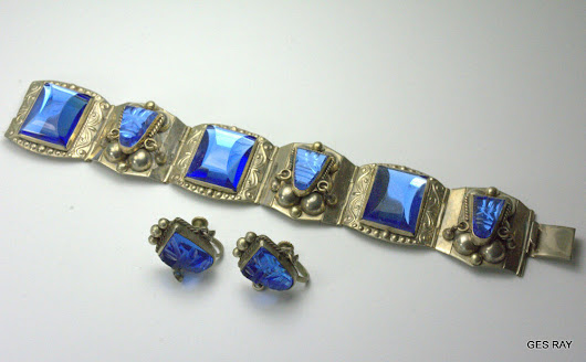Details about Sterling Silver Taxco Blue Carved Glass Aztec Face Bracelet Matching Earrings