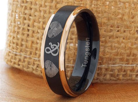 Tungsten Fingerprint Ring 7mm Black And Rose Gold Tungsten