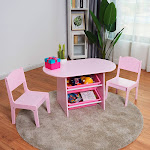 Gymax Kids Table and 2 Chairs Set with Storage Boxes For Toddler Gift Desk Pink