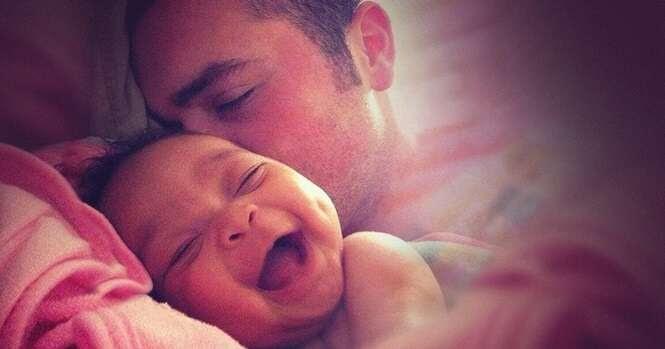 Imagens evidenciando a alegria de ser pai