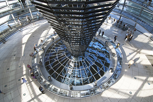 Interior view Dome Reichstag, Berlin, Germany