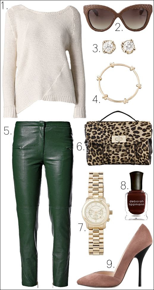 OUTFIT COLLAGE LINDA FARROW SUNGLASSES CAT EYE LEOPARD SATCHEL BE&D MICHAEL KORS GOLD WATCH CC SKYE KNOT BANGLE GINETTE_NY DIAMOND EARRINGS GIUSEPPE PINK SUEDE HEELS BY MALENE BIRGER GREEN LEATHER PANTS ALISA