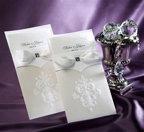 Wedding Invitations Cards Elegant Ivory Flowers Embossed