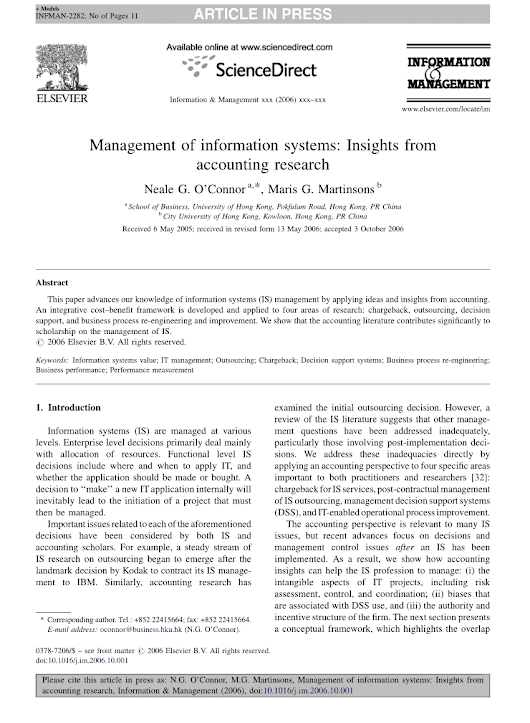 Academic paper (PDF): Management of information systems: Insights from accounting research