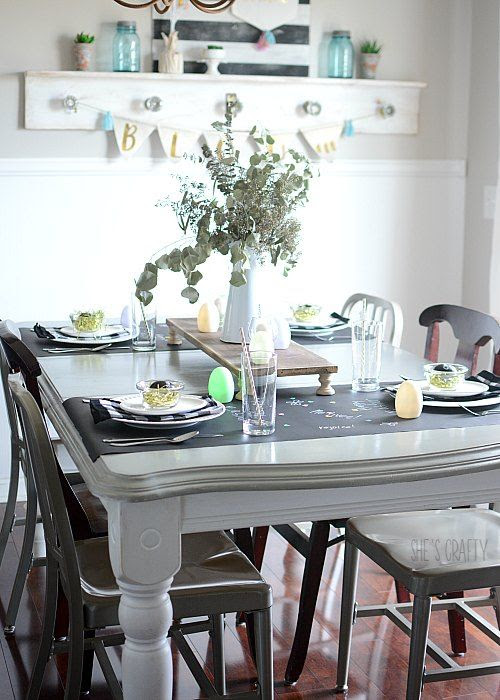 easter table decorations, chalkboard runner on table, grey painted table