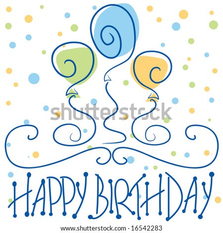 stock vector : Vector Happy Birthday design with confetti, balloons,