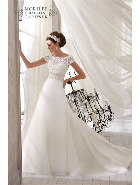 Mori Lee 5212 Lace Cap Sleeve Bridal Gown with Ivory
