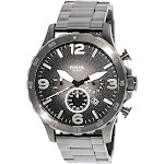 Fossil Men's Nate JR1437 Grey Stainless-Steel Analog Quartz Fashion Watch