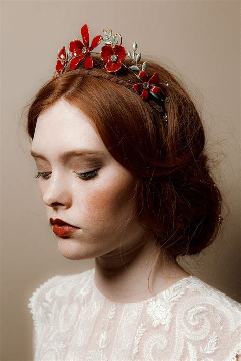 tiara, red headpiece, flower crown, headpiece, diadem, red