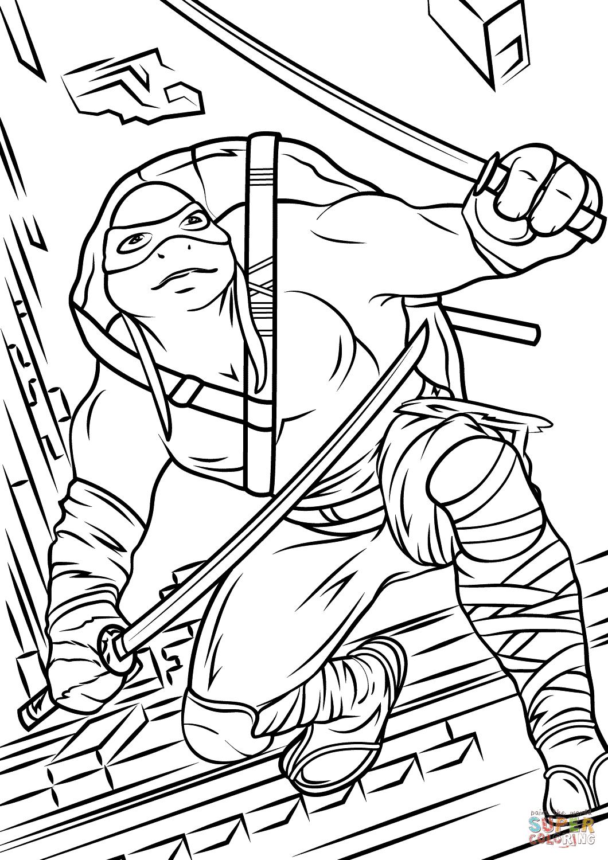 Leonardo from Teenage Mutant Ninja Turtles 2 coloring page ...