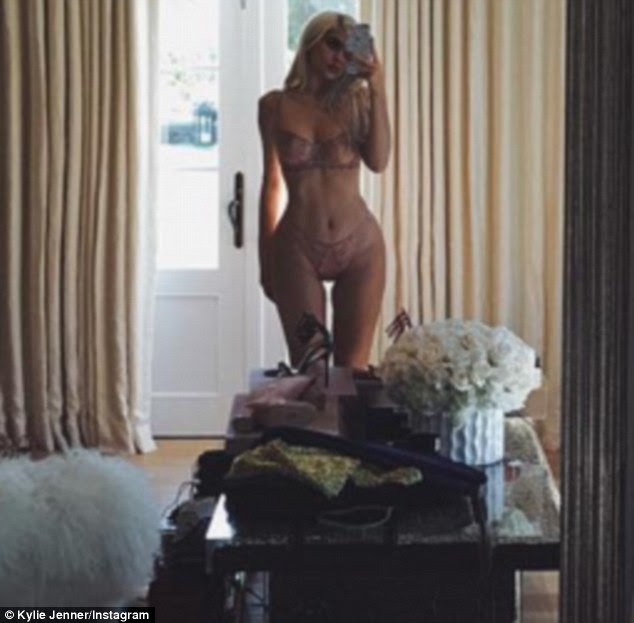In lingerie: On Thursday, Kylie Jenner, 19, took to Instagram to give her followers of a view of herself, sans clothing