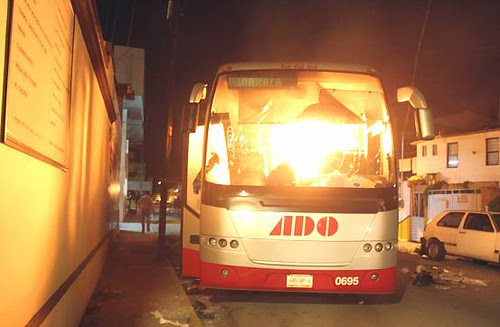 Mark in Mexico, http://markinmexico.blogspot.com/ Pale Horse Galleries for gifts, Mexican arts and crafts, alebrijes and collectibles, http://palehorsemex.vstore.ca/ ADO bus burned by APPO in spite of brbes paid by ADO to APPO for protection.
