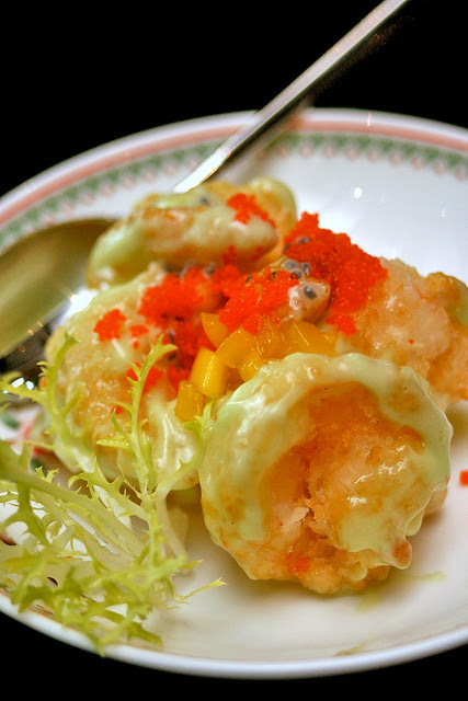 Crisp wasabi-aioli prawns with fresh mango and fish roe
