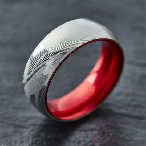 EMBR? Wood Grain Damascus Steel Ring   Resilient Red