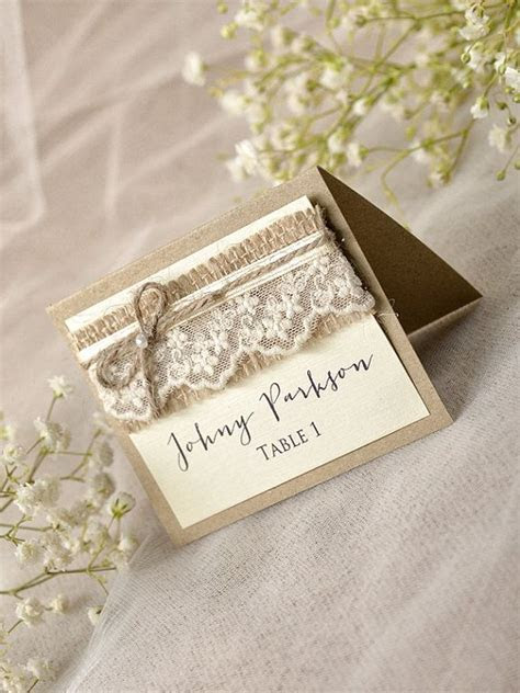 Rustic Place Cards 20 Lace Place cards Grey by