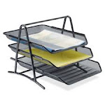 Lorell LLR90206 Front-Load Ltr Tray 3 Tier10.75 in. x 14.25 in. x 11 in. BK Mesh