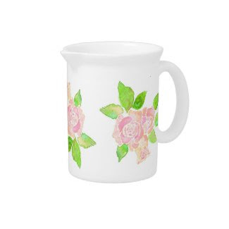 Vintage Pink Roses Small Pitcher