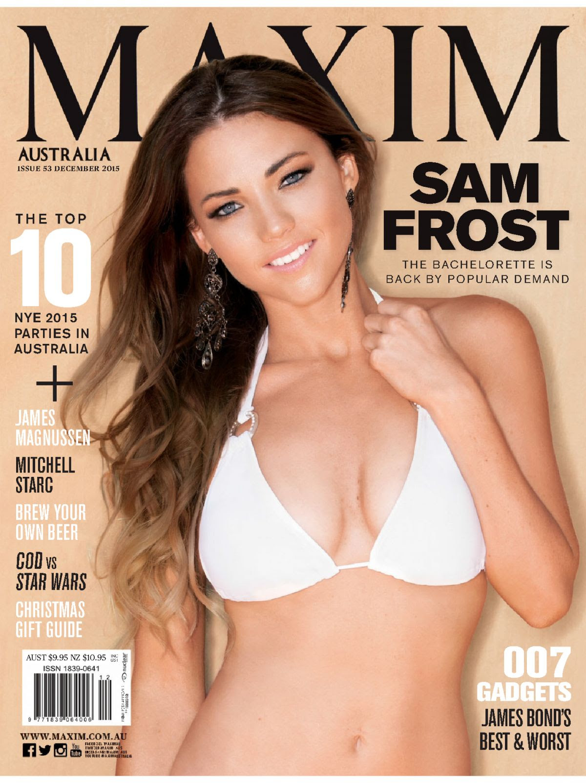 SAM FROST in Maxim Magazine, Australia December 2015 Issue