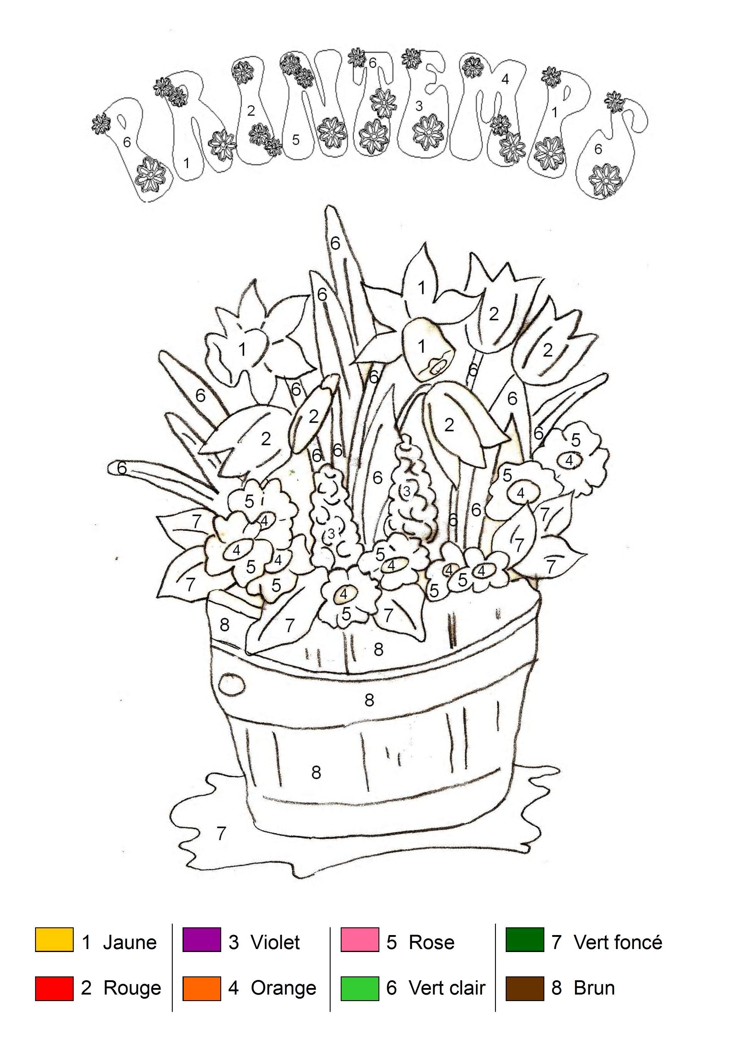 Coloriage magique Bouquet de printemps